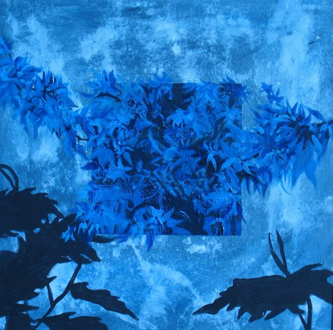 Blue Flowers, Ed McCartan, acryic on canvas, 34x34""