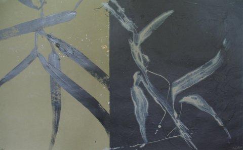 """Wabi Sabi II, Ed McCartan, acrylic on paper, 42x28"""""""