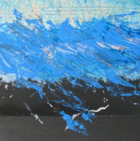 "At Sea, Ed Mccartan, acrylic on mirrored paper, 10x10"""